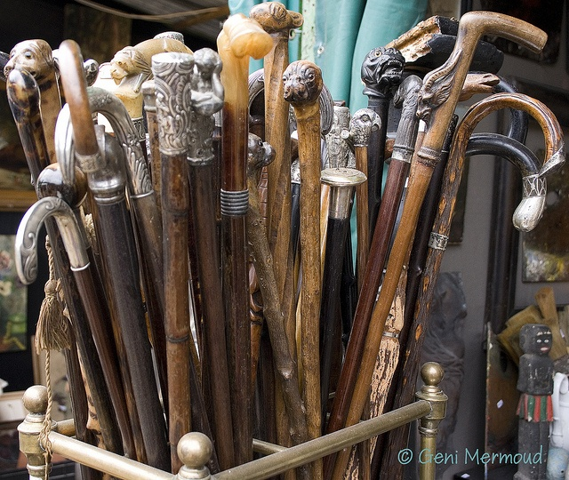 beautiful old canes and walking sticks. yes please.