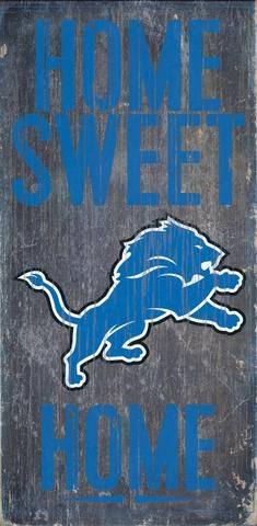 """Detroit Lions Wood Sign - Home Sweet Home 6""""x12"""""""