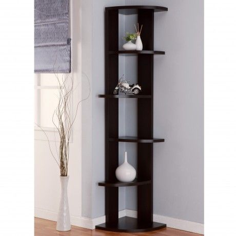 Furniture : Cappuccino 5 Tier Corner Bookcase With Modern Style Plus Wooden Material For Livingroom Decoration - Corner Bookcase for Minimalist Interior Home