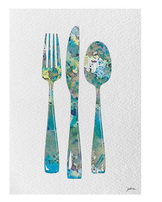 Fork Knife Spoon Art Watercolor Painting 5x7 Archival