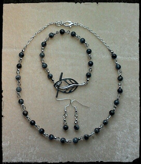 Black, silver & crystal beads - woven necklace, earrings & bracelet with feature toggle clasp. Also see my Facebook page: www.facebook.com/creativelywellcreations