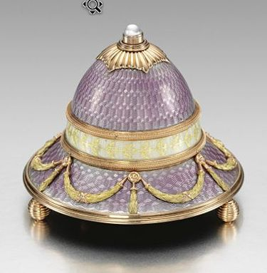 Faberge Bell Push;  Lavender Gold Mounted with Gold Design Guilloche Enamelled Bell-Push