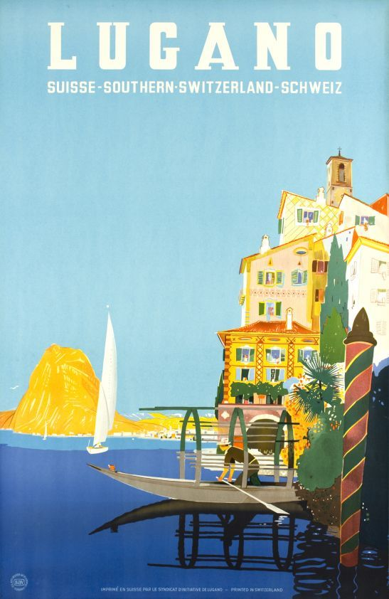 Lugano, Suisse 1st edition by Buzzi Daniele / 1952. Typical scene of the Gandria village on the Lake of Lugano