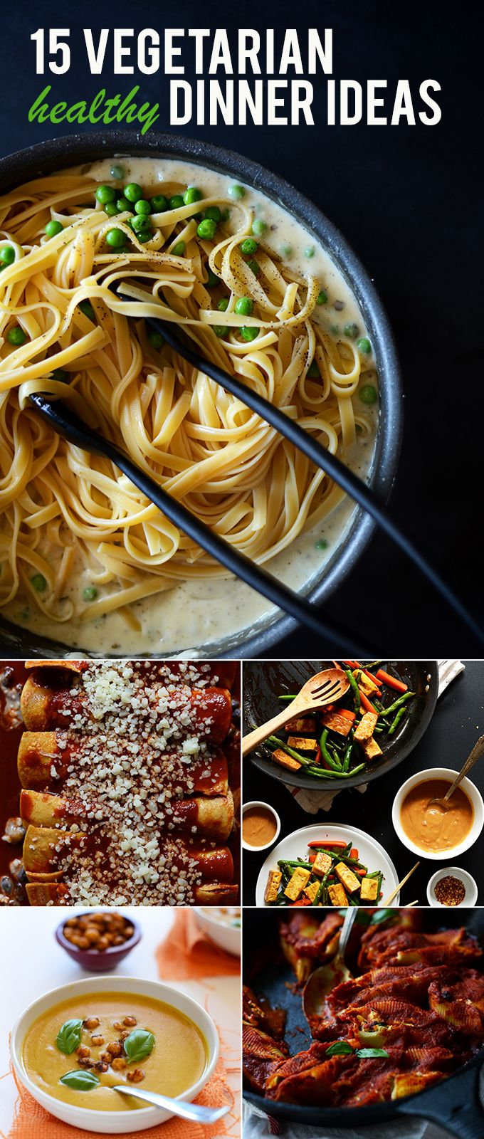 15 Easy, Healthy Vegetarian Dinner Ideas! minimalistbaker.com #vegetarian