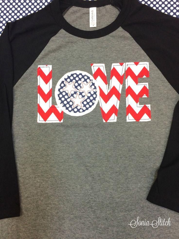 Tennessee Love Baseball Tee - tn applique - Raglan sleeve baseball t-shirt…