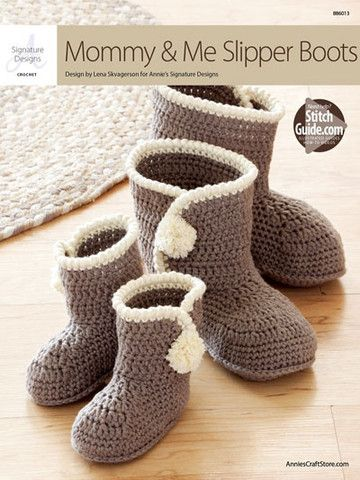 AA886013 - Mommy & Me Slipper Boots - $6.99 These matching booties are made using Berroco Comfort Chunky-weight yarn. Pattern includes toddler sizes 5/6 (7/8, 9/10, 11/12 1/2) and adult sizes 5/6 (7/8, 9/11). Main color for toddler sizes requires 1 skein and adult requires 2 skeins, or any chunky-weight yarn, plus a small amount of contrasting color in chunky weight.