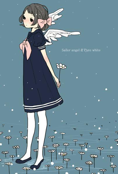 图片、I Love Fancy、制服、女子、插画、p站、蓝、动漫壁纸、大图、二次元、天空、初音、蓝色