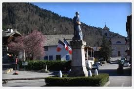 The town square of the lovely village of Le Biot int he Haute Savoie.