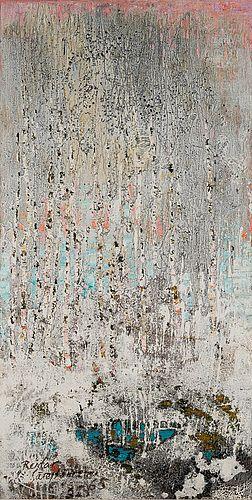REIDAR SÄRESTÖNIEMI FROZEN BIRCHES I. Signeerattu ja päivätty 1965. Tempera ja öljy kankaalle 146x73 cm.