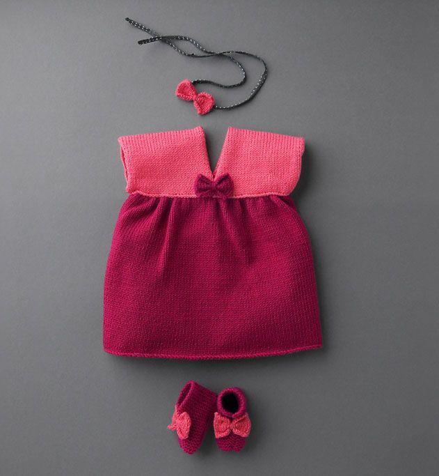 Modèle robe noeud layette - Modèles Layette - Phildar