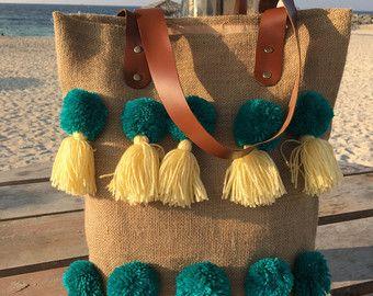 Strandtaschen Jute-Taschen Jutesäcken von TheWhitePetalsCloset