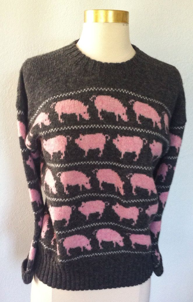 Wool Pig Sweater Made in England. $30.00, via Etsy.