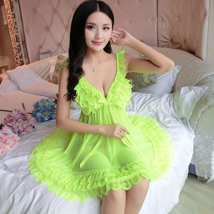 Sexy Nightgown Nightwear Lace Dresses Women Sleeping Deep V Sleepwear Lingerie Transparnet Spaghetti Strap Mini Sleep Shirts