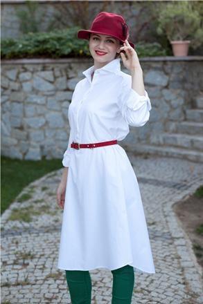 Kuaybe Gider özel tasarım beyaz uzun tunik