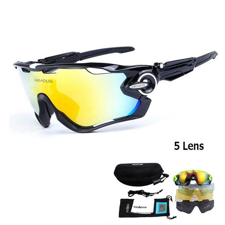 HOTER® Nlite Vogue 5 Lens Cycling Bike Combo Sun Sports Glasses Multi Color Colors To Choose, - Green&Black