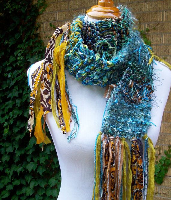 Teal and Green Knit Scarf Metallic Accents Sari Chiffon Fringe Imported Ribbon Funky Boho Style