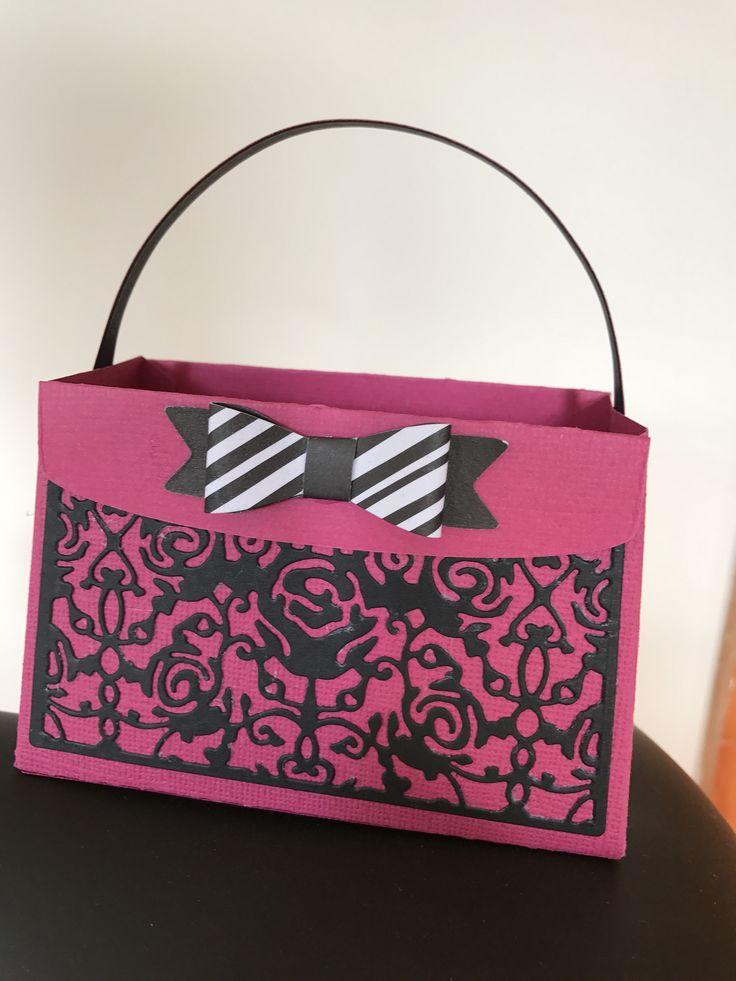 Cute handmade ladies purse with ribbon & filigree detail...