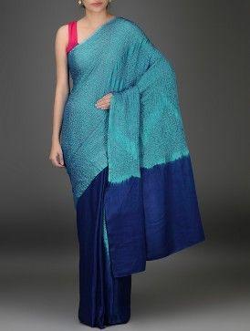 Blue Bandhani Silk Saree