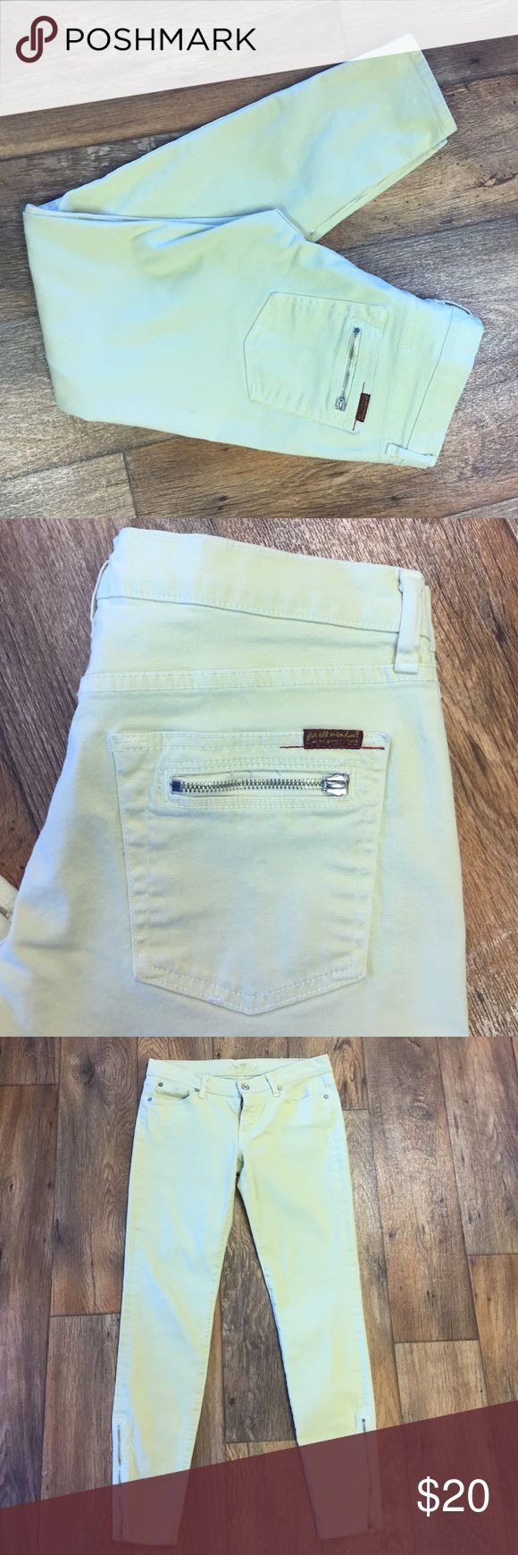 """7 for all Mankind Yellow Skinny Jeans Awesome soft yellow skinny jeans with zip up legs. As shown in picture one of the zipper pulls is missing off the back pocket. May have a minor imperfection here or there but nothing super noticeable. 28.75"""" inseam 7 For All Mankind Jeans Skinny"""
