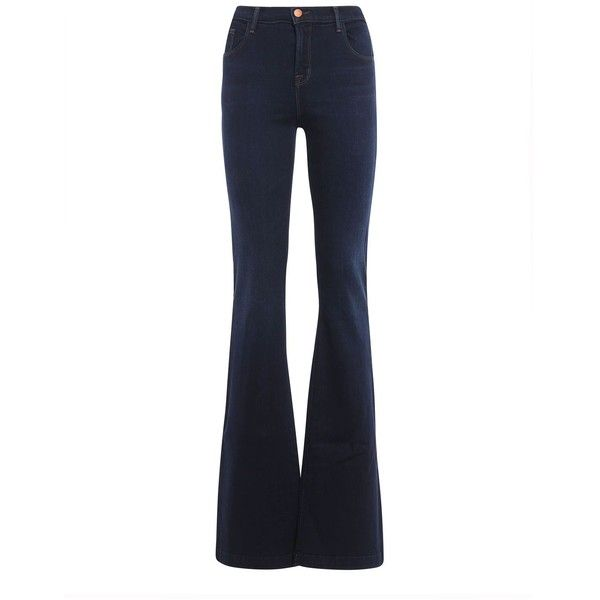 Maria Flare High Rise Jeans ($196) ❤ liked on Polyvore featuring jeans, denim scuro, white high waisted jeans, button-fly jeans, high waisted flare jeans, white flare jeans and zipper jeans