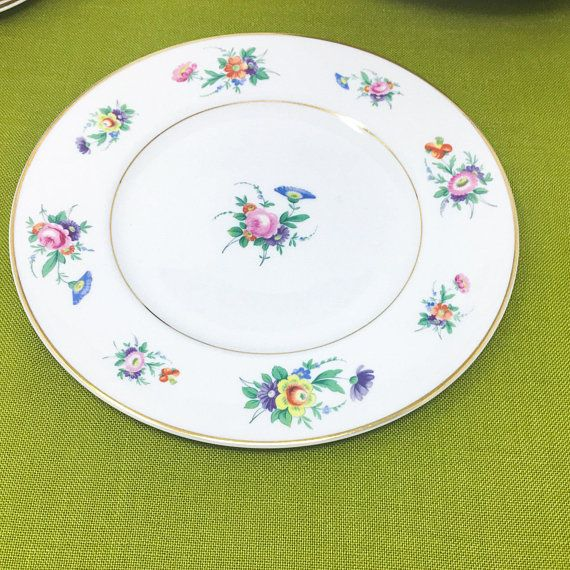 Vintage Selma Dinner Plates Cottage Floral Bright Bouquets Classic American Pretty Old Ivory Syracuse China Ma Pretty Plates Dinner Plates Syracuse China