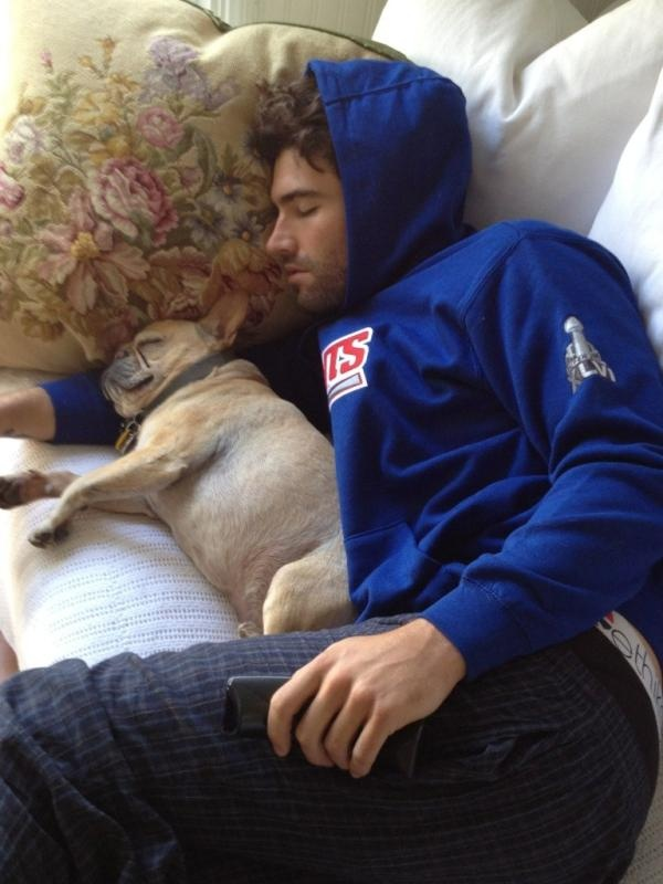 Brody Jenner wearing a Giants sweatshirt AND snuggling a Frenchie!!! I could die!