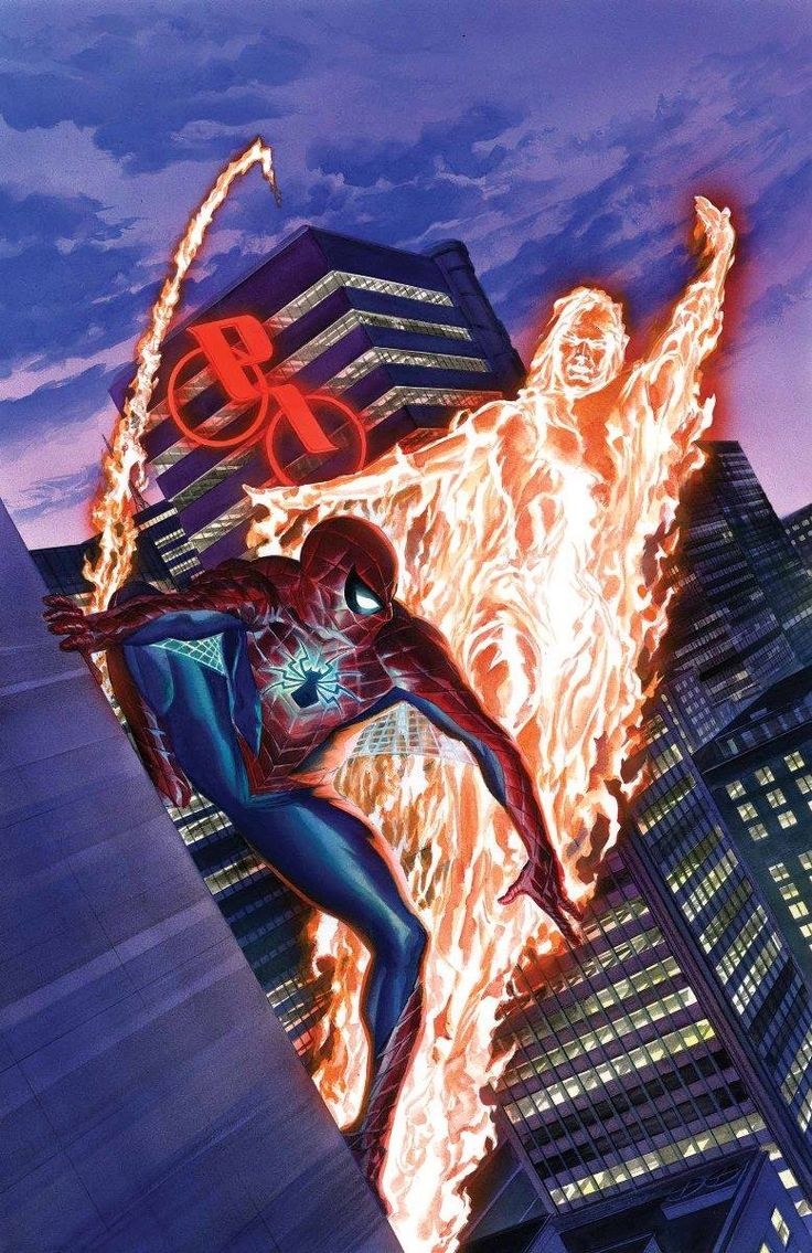 Spider-Man and the Human Torch by Alex Ross. These two superheroes have a long history of mutual harassment and friendship going as far back as Strange Tales Annual#2(1963),Spider-Man's fourth appearance.