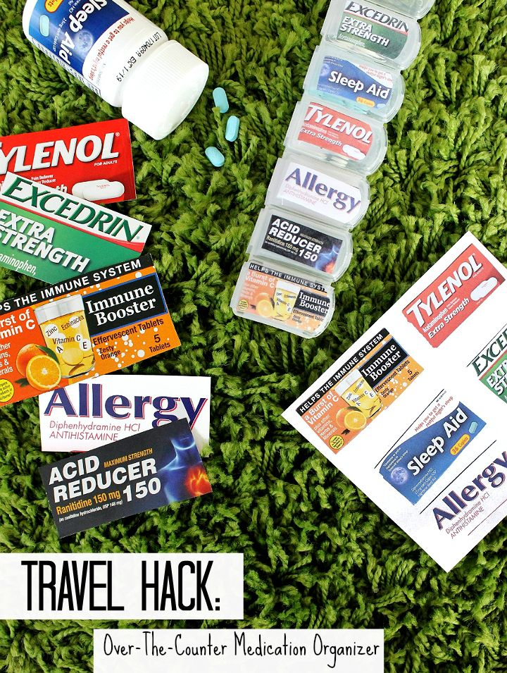 Pack over-the-counter travel medications, supplements, and vitamins in a pill organizer with the labels taped to the caps! #99YourSummer with these simple Summer Vacation Hacks that'll save you dollars and headaches! #DoingThe99
