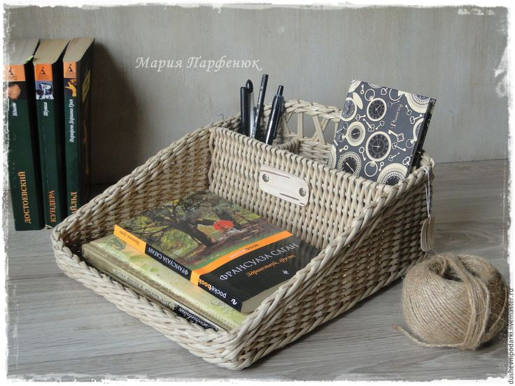 """Купить Органайзер для письменных принадлежностей """"Успешный день"""" - серый, органайзер, плетение, порядок, винтаж"""