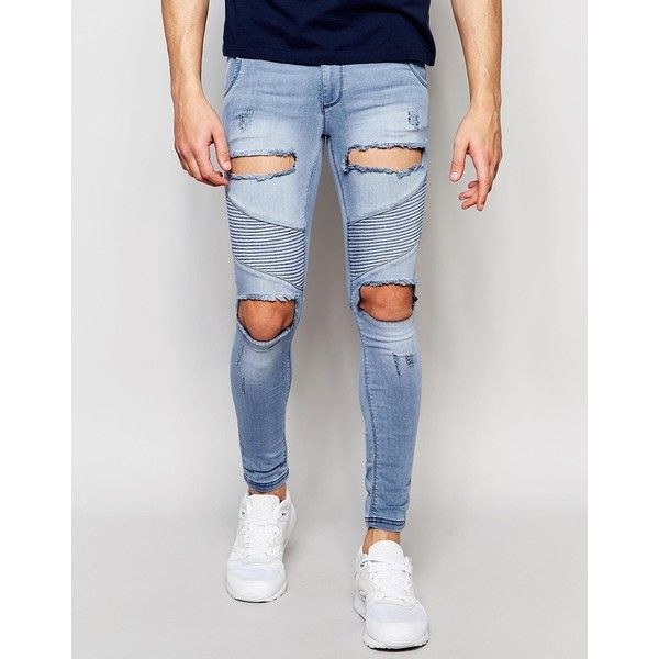 SikSilk Skinny Extreme Skinny Biker Jeans With Distressing ($79) ❤ liked on Polyvore featuring men's fashion, men's clothing, men's jeans, blue, mens light wash jeans, mens blue skinny jeans, mens ripped jeans, mens distressed skinny jeans and tall mens jeans