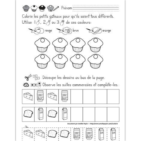 Fichier PDF téléchargeable En noir et blanc seulement 1 page Dans cet exercice, l'élève doit colorier les 8 petits gâteaux pour qu'ils soient tous différents en utilisant une ou plusieurs des couleurs données. Il doit également compléter les suites logiques en découpant les dessins au bas de la page et en les plaçant au bon endroit.