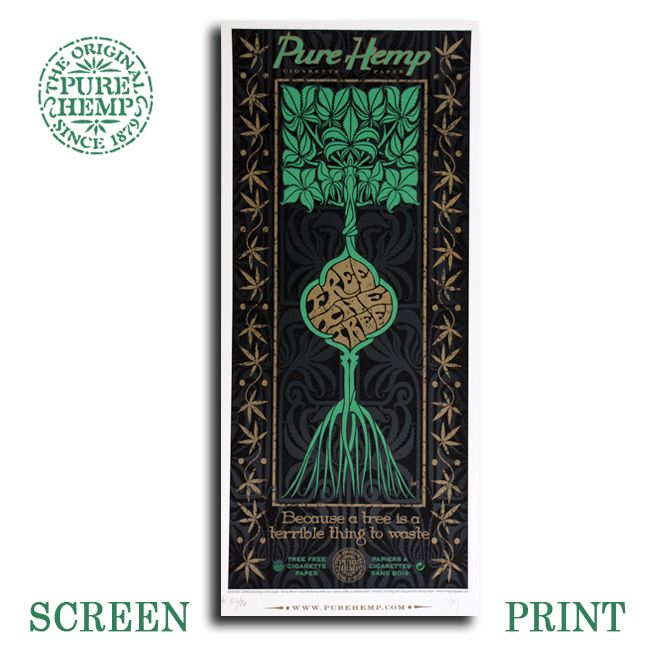"""LIMITED EDITION SCREEN PRINT Jeff Wood of Drowning Creek Studios Title: Free The Tree, Pure Hemp 3 Color Screen 11 x 25"""" Print Including Gold Metallic Inks Printed On Hemp Paper. Edition Size: 1,000 Signed/Numbered By The Artist"""