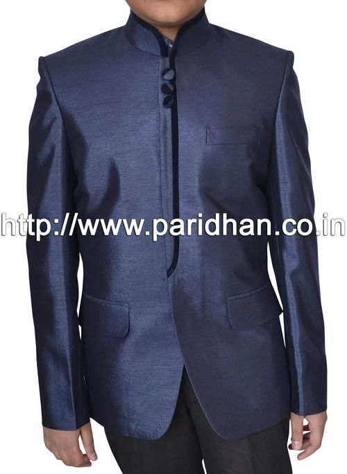 Mens classic look nehru jacket made in navy blue color pure polyester fabric.