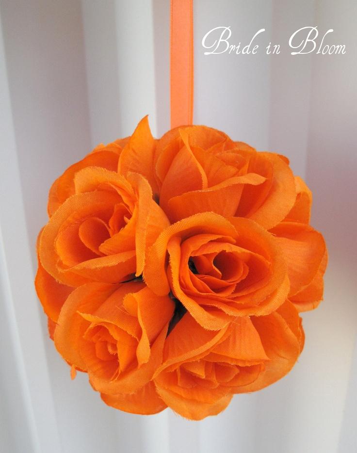 Orange wedding flower ball decorations - SALE - Flower girl pomander kissing ball