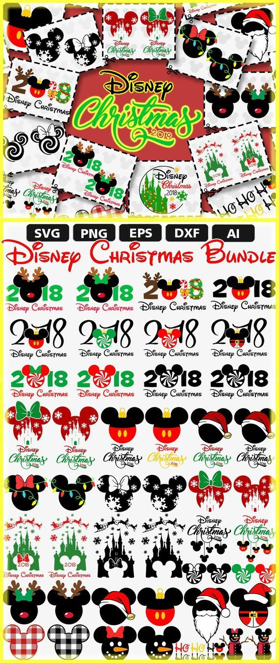 bd801ef1d89 SVG Disney Christmas Bundle 2018 All Disney Christmas File in Store Big SALE  download digital cut clipart cricut Merry Ears Mickey Minnie