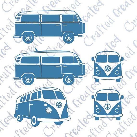8d5bfbf524c07 Camper van vector BUNDLE, VW camper van clipart front, side & 3d iso ...