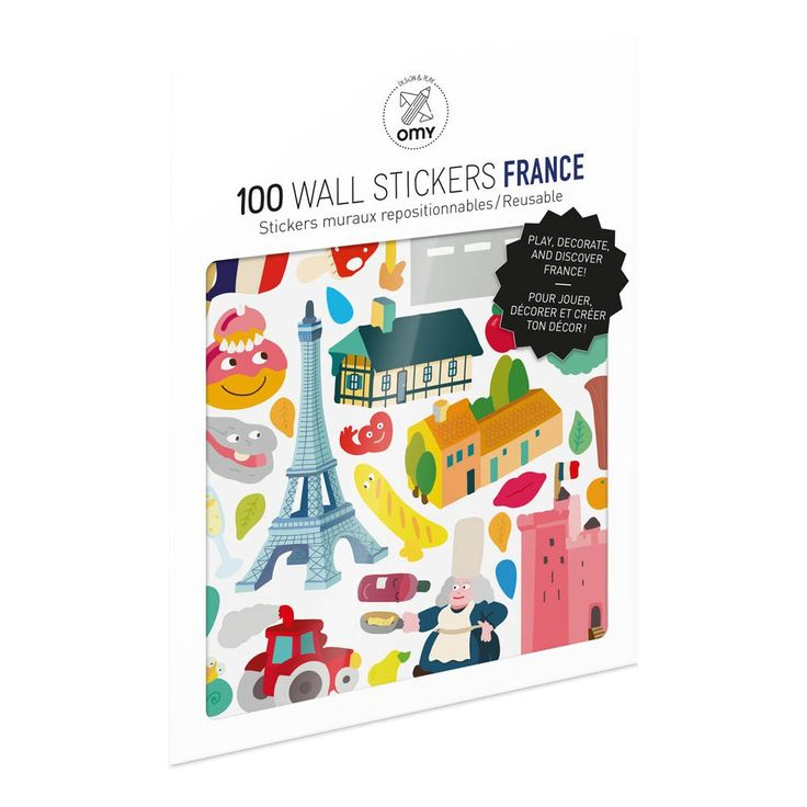 Omy France Wall Stickers - Set of 100 Multicoloured