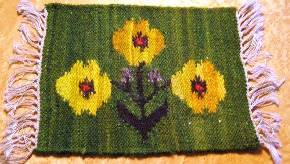 Polish handwoven kilim 70' Flower in yellow/green door Kilimam