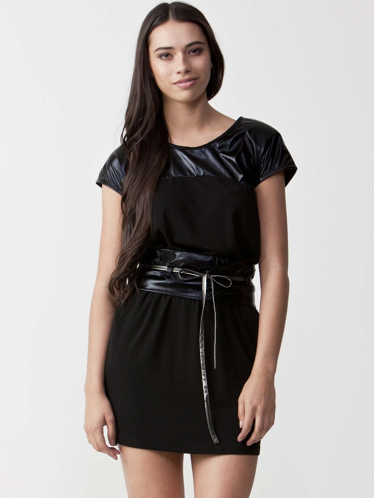 Veronica - Black T-Shirt Dress with round neckline.  Lace tie waistline with asymmetric black panels.  Regular fit cut and short sleeve styling. $60.50