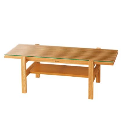 wood coffee table with shelf and glass top LIJN ローテーブル W1000   ¥44,940 (税込)