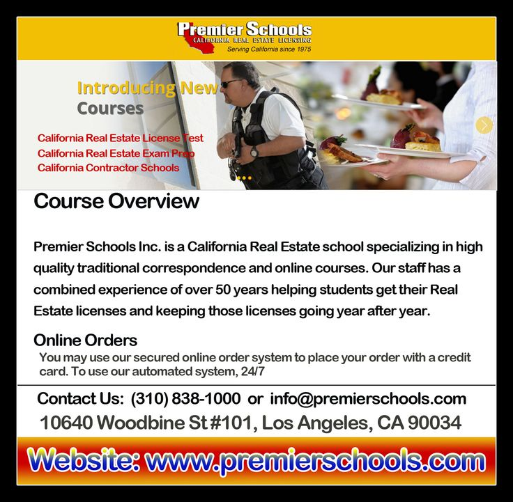 Applying for a real estate broker license exam without any preparation? Join Premier Schools and pass the exam the first time with the help of our preparation kits. Premier Schools is a California real estate broker school, specializing in traditional high quality correspondence courses. We offer a complete selection of high quality, low cost courses to help you qualify for the California Real Estate broker exam.