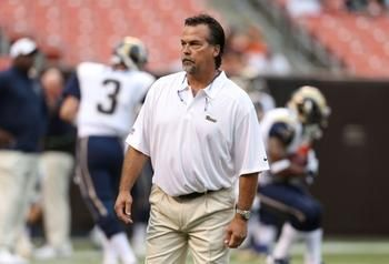 St. Louis Rams head coach Jeff Fisher aganist the Cleveland Browns preseason 2013