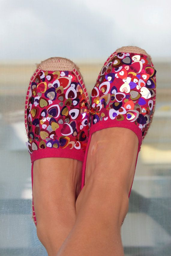 Beautiful Pink espadrilles embroidered with paillettes Size 37