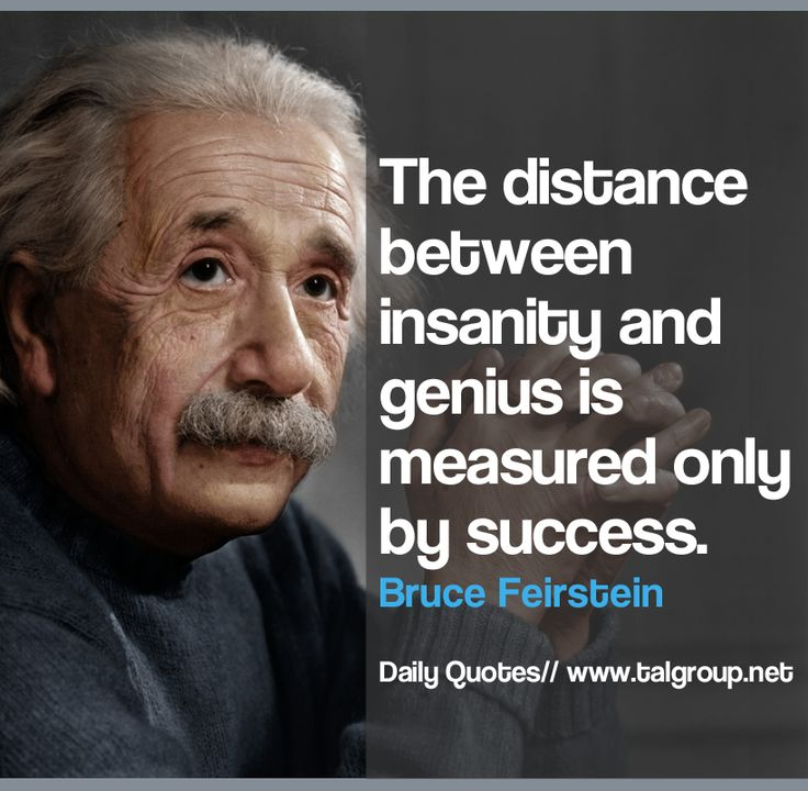The Distance Between Insanity Genius Is Measured Only By Success