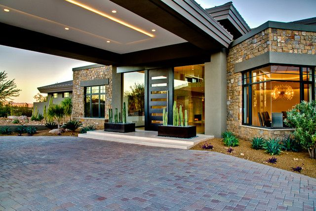 Contemporary Porte Cochere Of Ironwood Estate Home