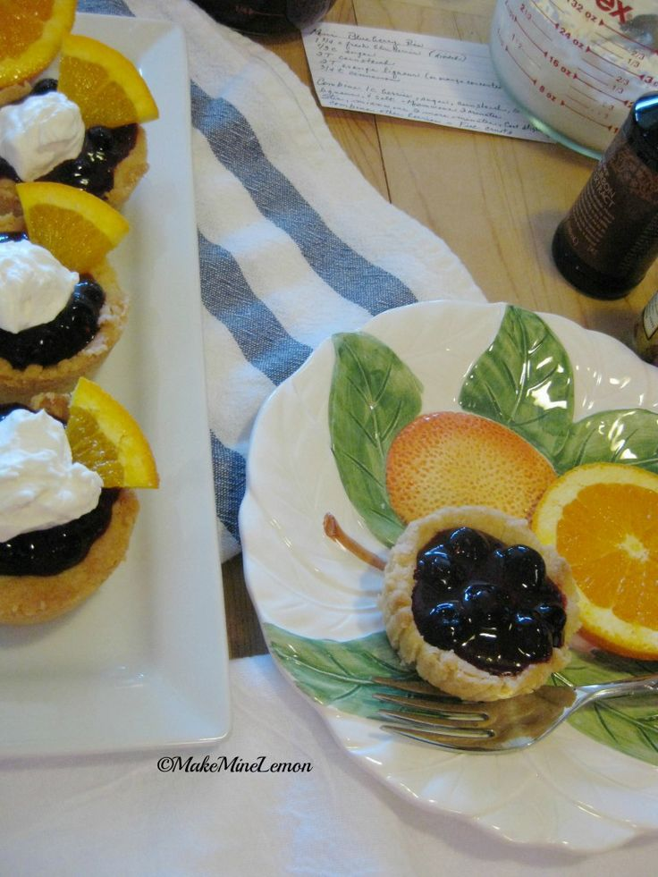 Mini Blueberry Tarts (6) with pie crusts & microwaved filling with o.j. or orange liqueur
