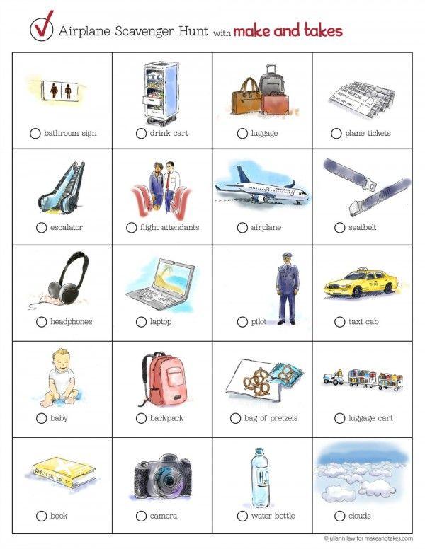 Airplane Scavenger Hunt Printable for Kids