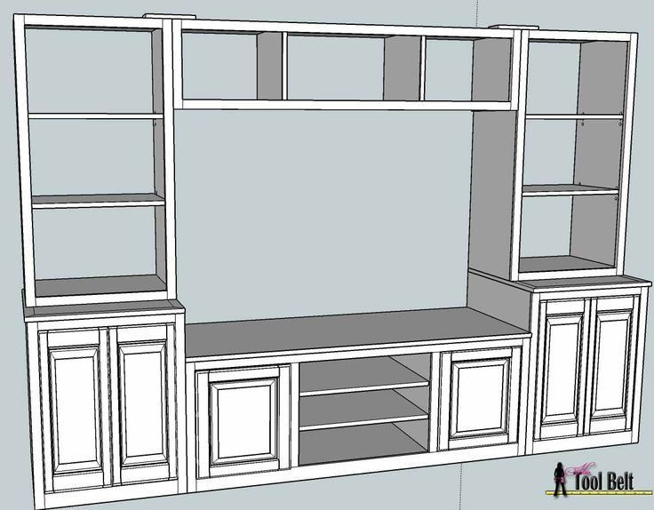 Entertainment Center (PB Media Center Plan) Bookshelves – # Bookshelves #Center # …   – House decor – #bookshelves #Center #Decor