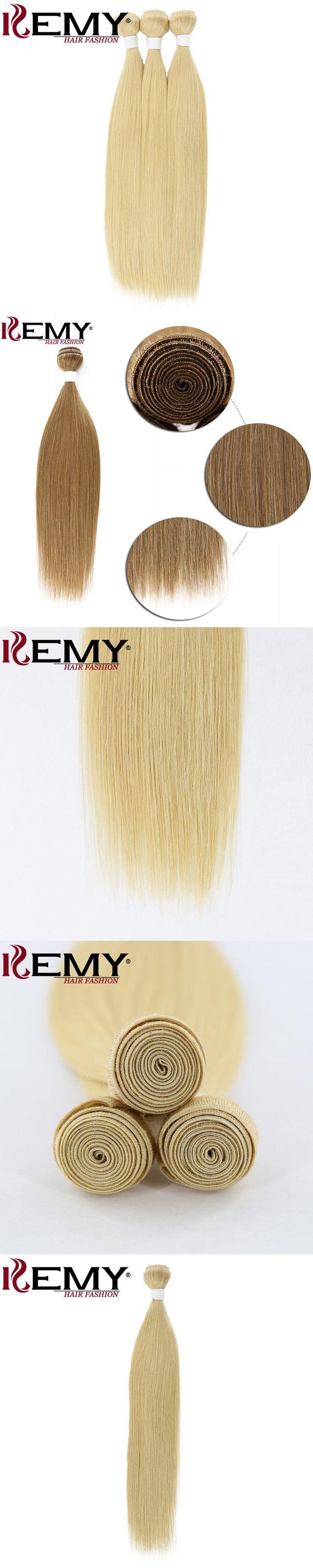"KEMY HAIR Blone hair  1Pcs/Pack 18"" Pre-colored Human Hair Weave Bundles Non-remy Straight 100% Brazilian Human Hair extensions"