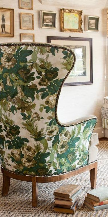 English country green floral chair. We make draperies to coordinate with this look. DesignNashville.com